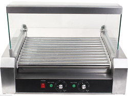 Roller Grills Stainless Steel Commercial 11 Rollers, 30 Hot Dog Cooker Machine