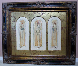Watercolorthree Angels-each Arch Mattedlarge Decorative Ornate Frame-unique