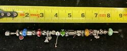 Full Pandora Charm Bracelet With 24 Pandora Charms + Chain All Sterling Silver