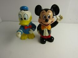 Vintage Mickey Mouse And Donald Duck 6andrdquo Piggy Banks Walt Disney Figures