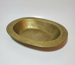 Vtg Solid Brass Large Bowl Centerpiece Art Signed 3 Pounds Heavy Mid Century