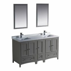 Fresca Oxford 60 3-drawer Double Sinks Traditional Wood Bathroom Vanity In Gray