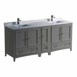 Fresca Oxford 72 Inches Double Sinks Traditional Wood Bathroom Cabinet In Gray