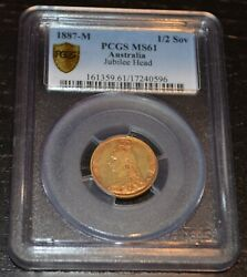 1887-m Melbourne Australia Half Sovereign Jubilee Head Graded By Pcgs As Ms61
