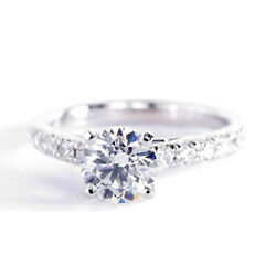 1.50 Carats Si2 D Cathedral Round Cut Diamond Engagement Ring 18k White Gold