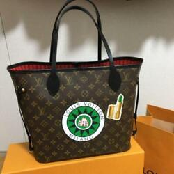 Louis Vuitton Neverfull Mm Tote Bag Pouch My World Tour Monogram Brown Woman Lv
