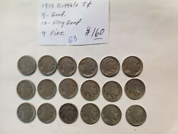 Coins - Us - Nickels - Buffalo - Group 18 - 1913 - G/vg/fine