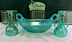 Fenton Art Glass Swan Console Bowl And Candlestick Holders-persian Pearl Blue Opal