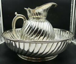 Art Nouveau French Christofle Silver Plate Fluted Large Pitcher Jug And Basin