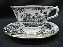 Scarce Vintage Royal Crown Derby Black Aves Breakfast Cup And Saucer Mint