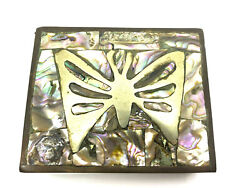 Vintage Abalone Shell Jewelry Trinket Box Butterfly Brass And Rose Wood