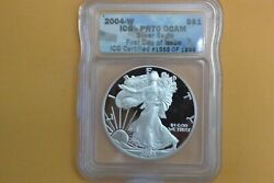 2004 W Proof Silver Eagle Icg Pr70 Dcam First Day Issue