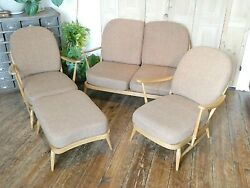Ercol Four Piece Suite Blue Label In Outstanding Condition Sofachairsfootstool