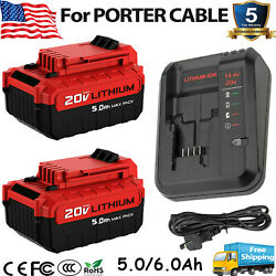 For Porter Cable 20 Volt Max 6.0ah Lithium-ion Battery Pcc680l Pcc685l / Charger