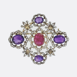Gold Diamond Pendant- Victorian Amethyst, Ruby And Old Cut Diamond Gold And Silver