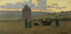 French Oil Painting Breton Landscape Brittany Dance Sunset Twilight Dancers Mill