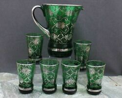 Outstanding Sterling Silver Overlay On Green Depression Pitcher And 6 Glasses