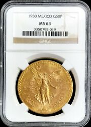 1930 Gold Mexico 50 Pesos Winged Victory Coin Ngc Mint State 63