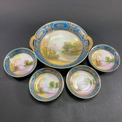 5pc Rare Early 1900's Antique Noritake China Hand Painted Sweets Set Gold Guild