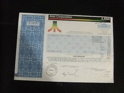 Atari Corporation Common Stock Certificate 300 Shares A10721 Dated 09/07/1990