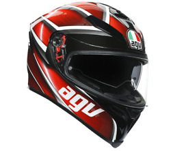 Agv Tempest Red And Black Motorcycle Racing Asf Full Face Dot Safety Helmet