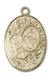 Bliss Our Lady Of Miraculous 1 3/4 X 7/8 Inch 14kt Gold Oval Medal