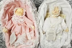Musical Baby Dolls Crowne Fine Porcelain Soft Expressions Movement Pink And White