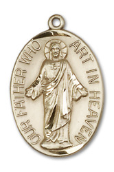 Bliss Our Father Prayer 1 1/8 X 3/4 Inch 14kt Gold Oval Medal