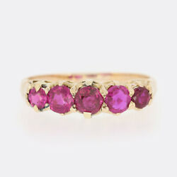 Gold Ruby Ring - Victorian Ruby Five Stone Ring 15ct Rose Gold