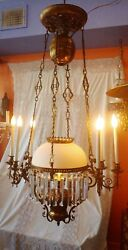 Large Victorian French Electrified Hanging Oil Lamp W/ Gargoyles 7 Lights