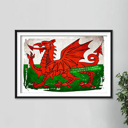 Welsh Flag - Poster Art Print - Wales - Dragon - St. Andrew's Day - Patriotism