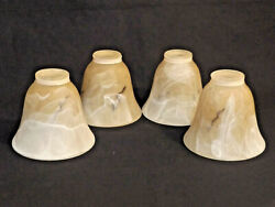 Blown Chocolate Glass Shade Tan Swirl Bell Shape For Ceiling Fan Set Of 4