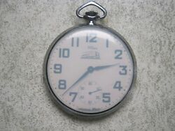Willens Louvic Railroad Pocket Watch Swiss Made Runs Train Etched On Back