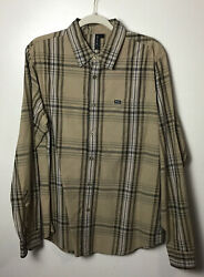 Rvca Brown Plaid Cotton Long Sleeve Button Up Shirt. Large