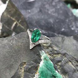 1.22ct Aaa Natural Colombian Emerald And Diamonds Ring 18k White Gold Classic