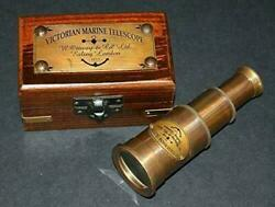Victorian Brass Telescope With Wooden Box Nautical Spyglass Lot Of 100 Unit