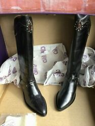 Nwb Vtg Circle S Sphere Womenand039s Sz 7 Black Leather Brazilian Western Boots