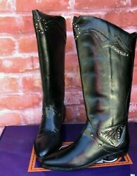 New Vtg Circle S Womenand039s Size 7 Black Leather Brazilian Western Boots