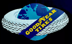 """Vintage Rare 32"""" Double Sided Goodyear Tires Hanging Porcelain Sign Car Gas Oil"""