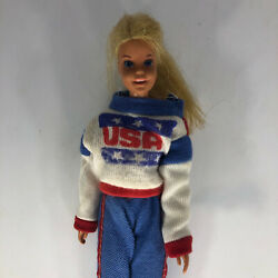 Vintage Mattel 1966 Barbie Doll Made In Japan In Usa Red White And Blue Sweater