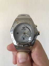 Seiko 5m42-0e60 Date Used Kinetic Mens Watch Authentic Working
