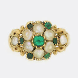 Gold Emerald Ring- Early Victorian Emerald And Pearl Cluster Ring 15ct Yellow Gold
