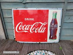 1930s Drink Coca Cola Enamel Sign Made In England Advertising Porcelain 28x20