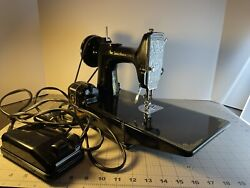 Antique Singer Featherweight 221 Sewing Machine W/box And Peddle