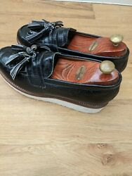 Brand New Grenson And039clara And039 Black Leather Tassel Loafersuk 8 Rrp Andpound185