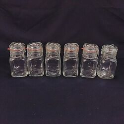 Apothecary Spice Jars Clear Glass Wire Bail Rubber Seal 8 Ounce Lot Of 6 Vintage