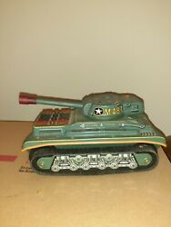 M-48-t Army Tank Battery-operated Tin Litho Toy Made In Taiwan For Parts/repair