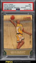 2007 Topps Trademark Moves Wood Kevin Durant Rookie Rc /199 61 Psa 10 Gem Mint