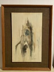 Neal Cotton Us 1900 - 2000 Abstract Watercolor On Board Signed Lr