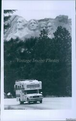 1982 Camper Drives By Mount Rushmore National Memorial Travel Photo 5x7